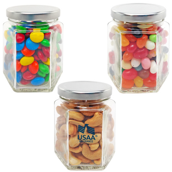 Hexagon Small Glass Jar with Chocolate Covered Candy