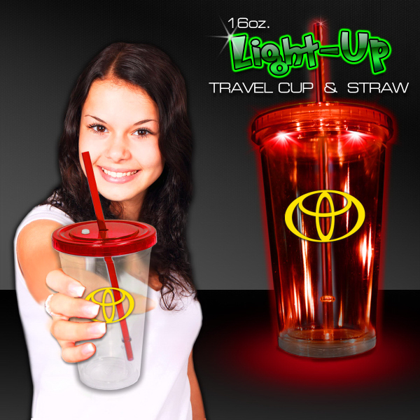 Red Light Up Travel Cup with Lid and Straw