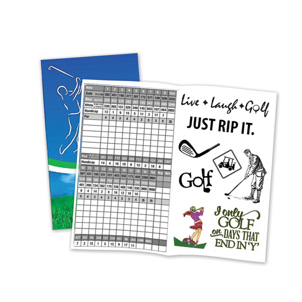 Custom Golf Scorecard with Two Sheets of Temporary Tattoos
