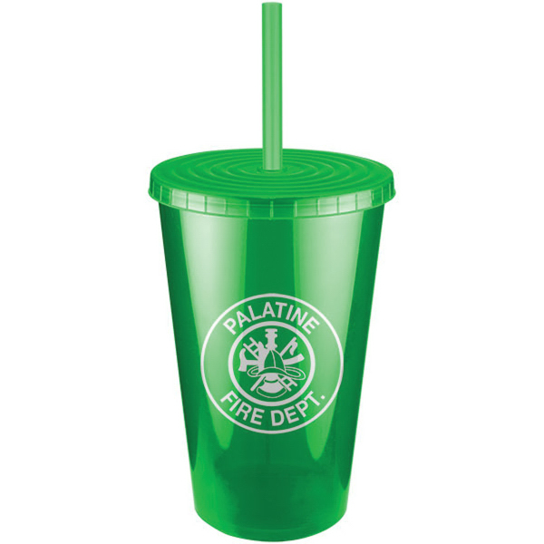 Jewel Double Wall Insulated Tumbler with Lid and Straw