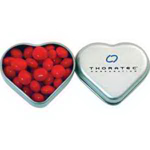 Silver Heart Tin filled with Red Hots
