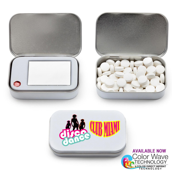 FLIP N SEE Tin Box Hinged with Mirror filled Cinnamon Mints