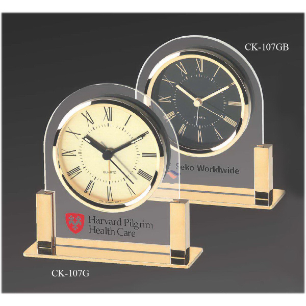 Acrylic & Gold Color Finish Desk Clock with Black Dial