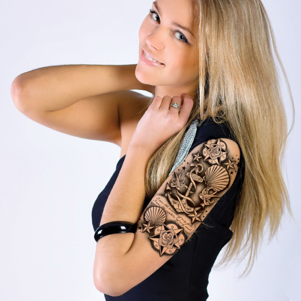 Customizable Tattoo Sleeve-Seashells & Anchor - USimprints