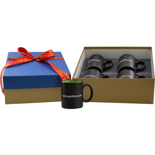 Four mugs in a gift box with ribbon