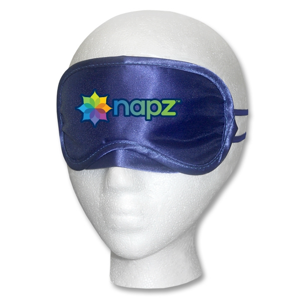 Navy Satin Sleep Mask Multi-Color Print
