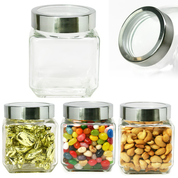 Modern Square Glass Jar Small See Thru Lid Cashews or Nuts
