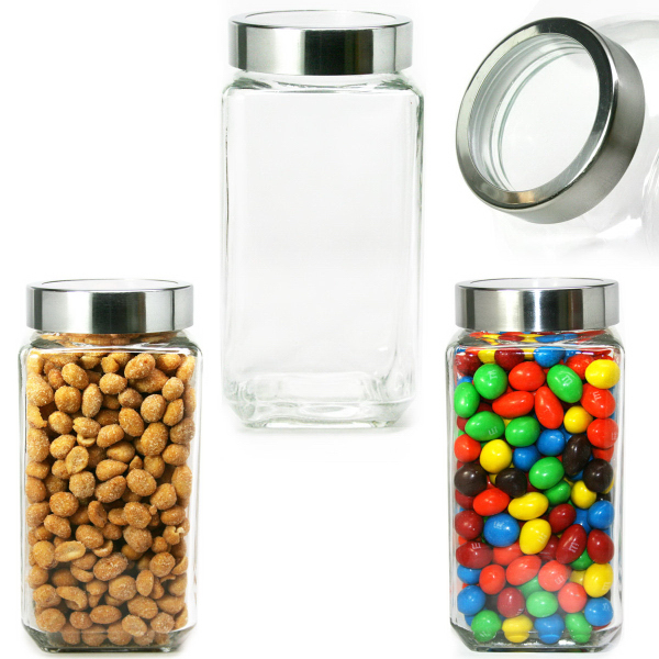 Modern Square Glass Jar Large See Thru Lid Jelly Beans