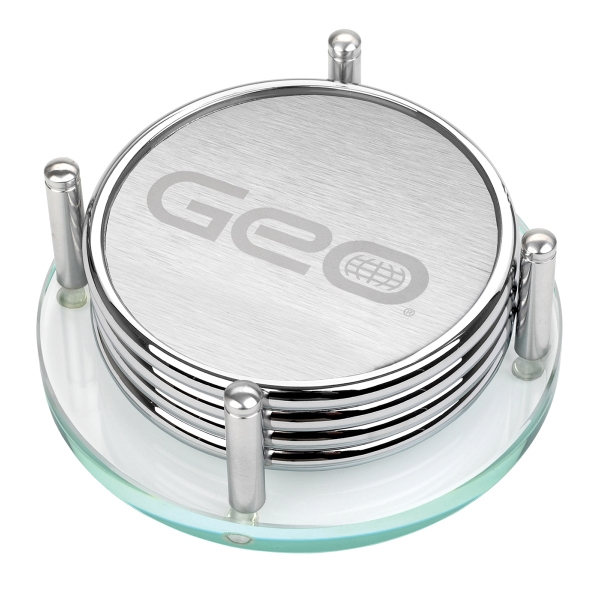 4 Piece Polished Silver Metal Coaster Se