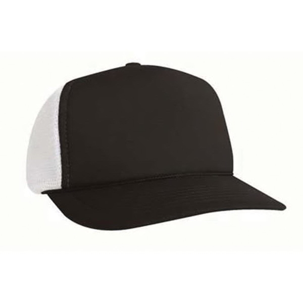 KC Caps 5 Panel Poly Foam Mesh Trucker Flat Bill Cap