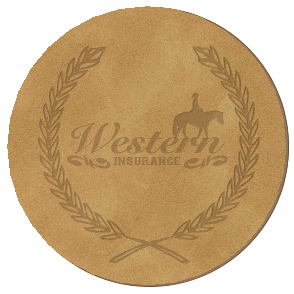 "Debossed 3.875"" dia. Circle Leather Coaster"