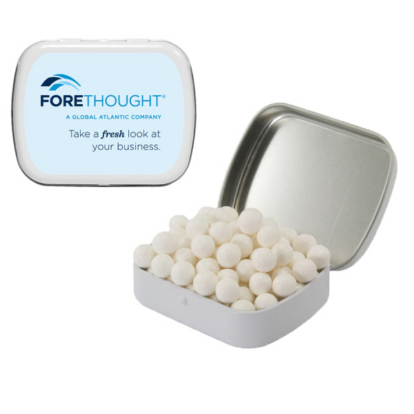 White Mint Tin with Mints - Breath Mints and Fresheners