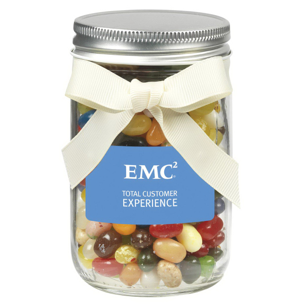 12 oz Glass Mason Jar w/ Jelly Belly Jelly Beans