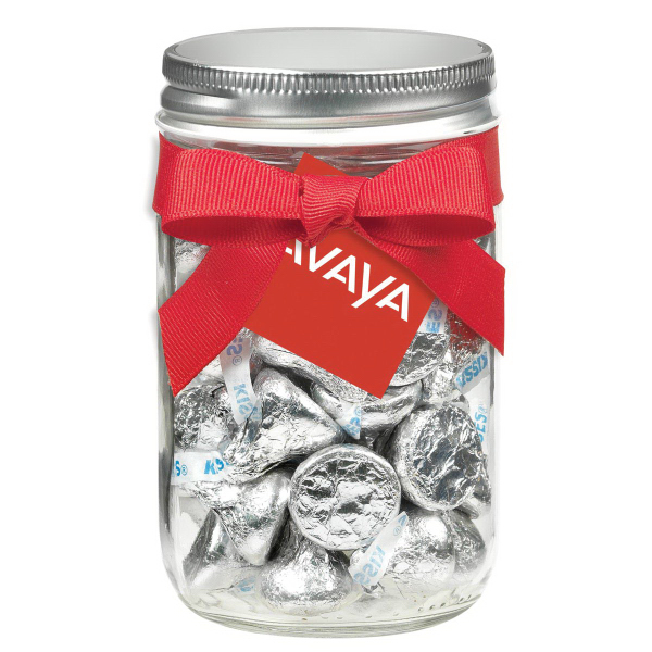 12 oz Glass Mason Jar w/ Hershey's Kisses