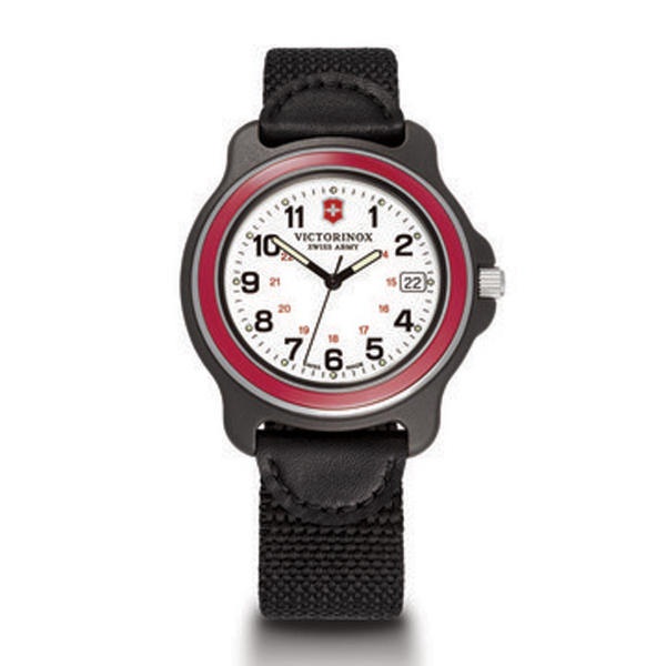 X-Large White Dial Red Bezel Black Nylon/Leather Strap