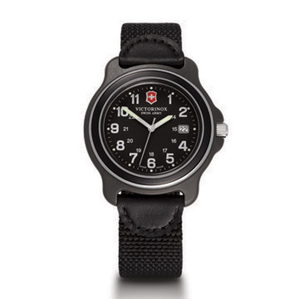 X-Large Black Dial Black Bezel Black Nylon/Leather Strap