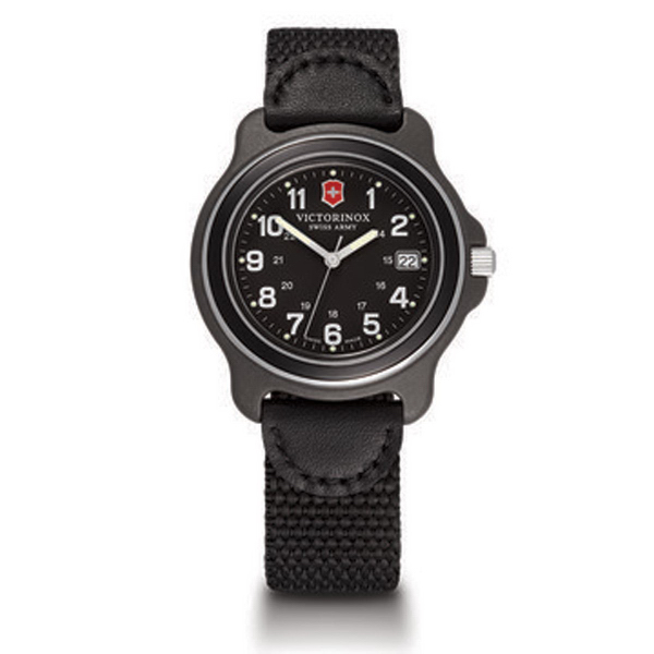 Large Black Dial Black Bezel Black Nylon/Leather Strap
