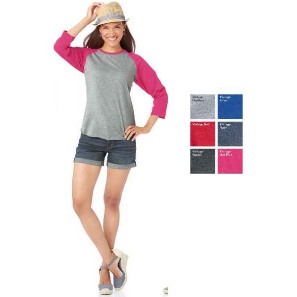 LAT Ladies' Fine Jersey 3/4 Sleeve Baseball T-Shirt