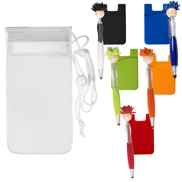 Mop Topper (TM) Stylus Pen & Cellphone Pocket in Clear Pouch