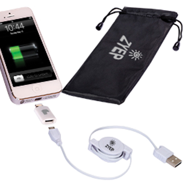 Retractable USB Cable & MFi 8 pin Lightning Adapter