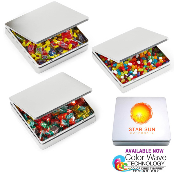 Square Hinged Large Tin Box with Jelly Beans