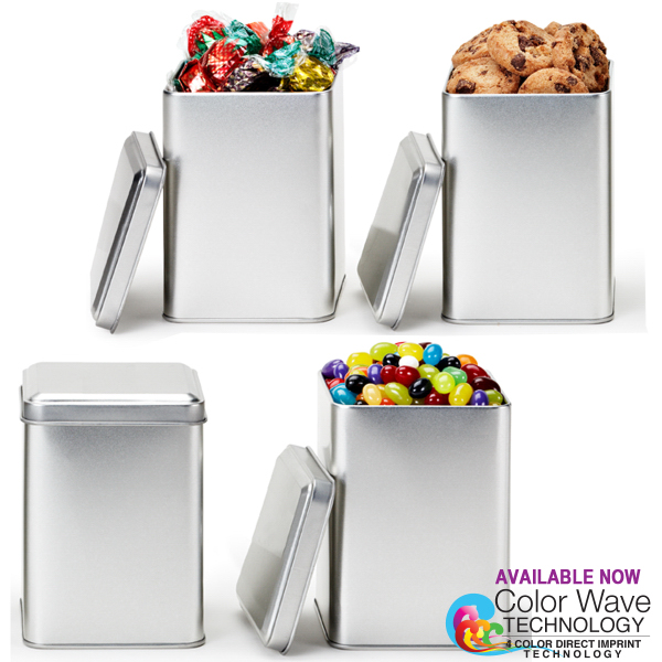 Small Square Tin Box Canister with Cookies
