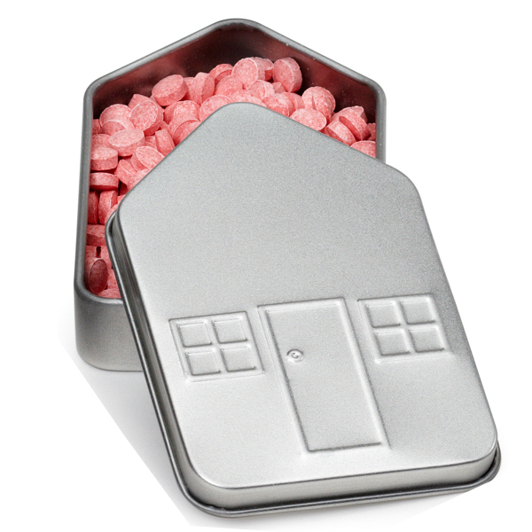 House Shape Tin Box Small with House Shape Mints