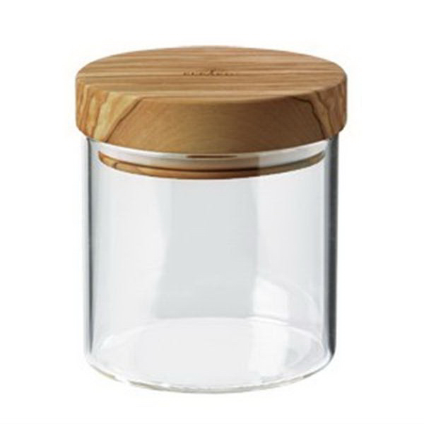 "Berard Glass Jar with Olive Wood Lid 4-1/4"" x 3-7/8"""