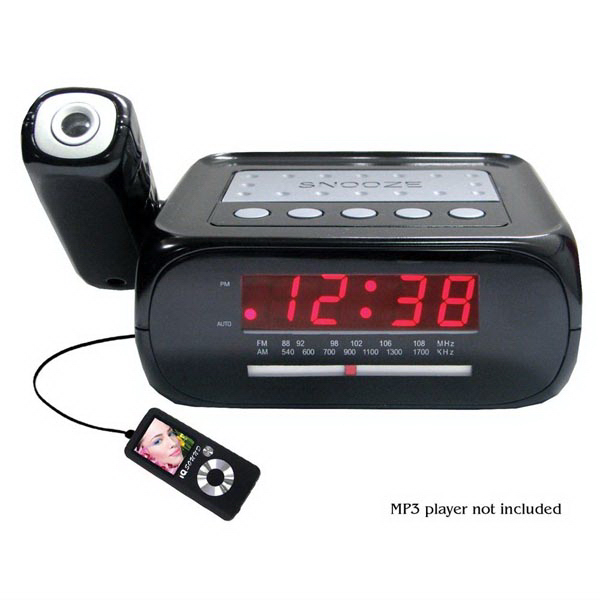 Digital Projection Alarm Clock w/ AM/FM Radio & AUX Input
