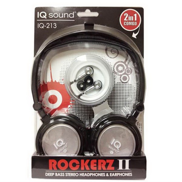 2 in 1 Deep Bass Stereo Headphones & Earphones (Silver)