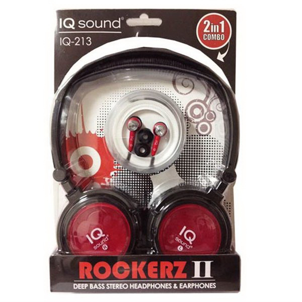 2 in 1 Deep Bass Stereo Headphones & Earphones (Red)