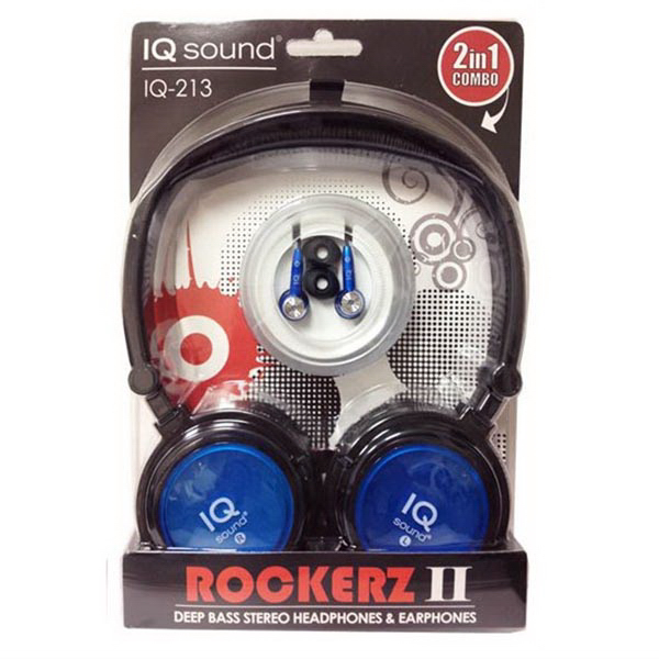 2 in 1 Deep Bass Stereo Headphones & Earphones (Blue)