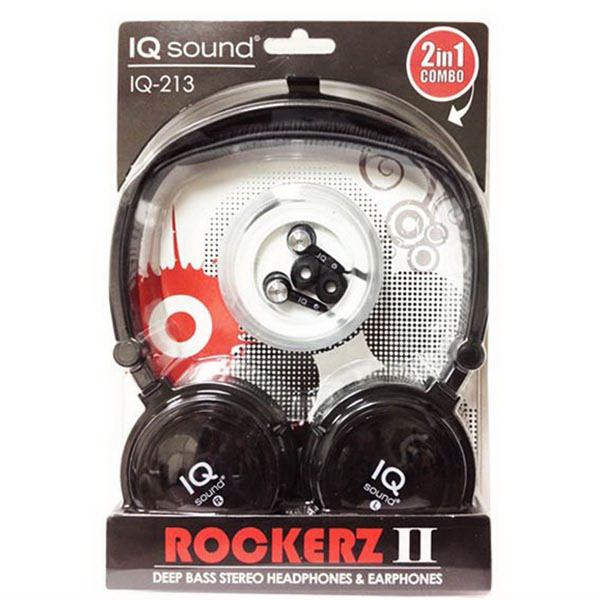 2 in 1 Deep Bass Stereo Headphones & Earphones (Black)