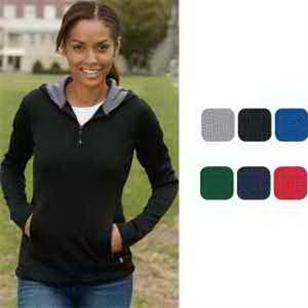 Russell Athletic Ladies' Tech Fleece 1/4 Zip Pullover Hood