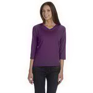 LAT Ladies' Combed Ringspun Jersey V-Neck 3/4-Sleeve T-Shirt