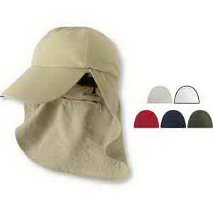 Six Panel Cap with Elongated Bill and Neck Cape