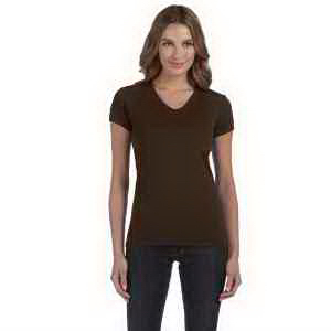Ladies' Baby Rib Short-Sleeve V-Neck T-Shirt