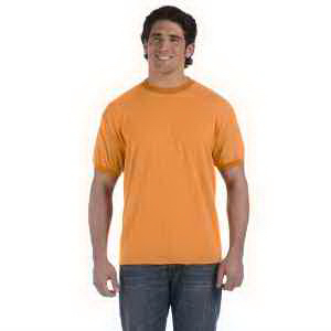 Authentic Pigment 6 oz Direct-Dyed Heather Ringer T-Shirt