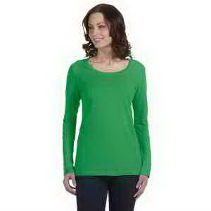 Ladies' Sheer Combed Ringspun Long-Sleeve Scoop Neck T-Shirt
