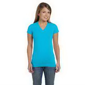 LAT Juniors' Fine Jersey V-Neck Longer Length T-Shirt