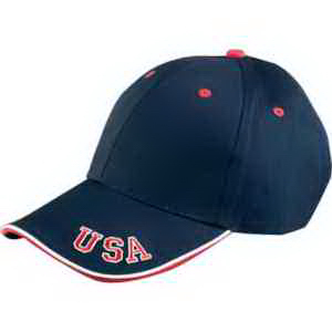 6 Panel Mid-Profile cap with USA embroidery