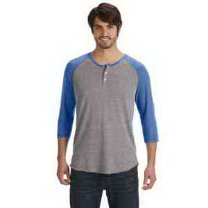 Alternative Men's Eco-Jersey 3/4-Sleeve Raglan Henley