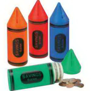 "6"" Crayon Shaped Banks with Stock ""Savings Bank""-Imprinted"