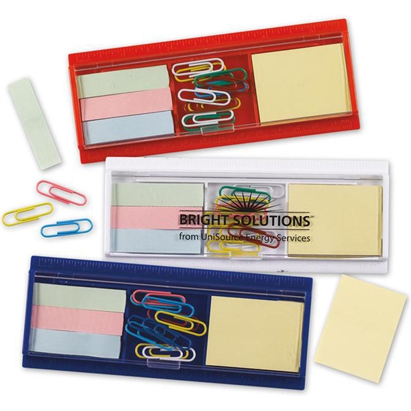 Ruler, Paper Clips, Sticky Flag and Pad Set-Imprinted