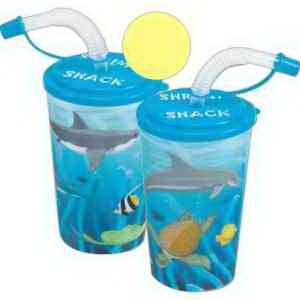 3-D Kid's Cup with Straws-Imprinted