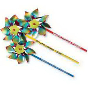 "4"" Metallic Rainbow Pinwheels-Imprinted"