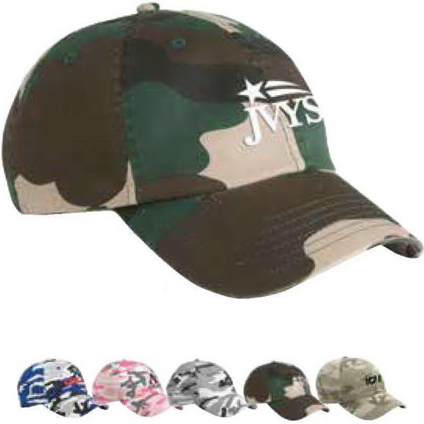 Valucap Camo Bio-Washed Unstructured Cap