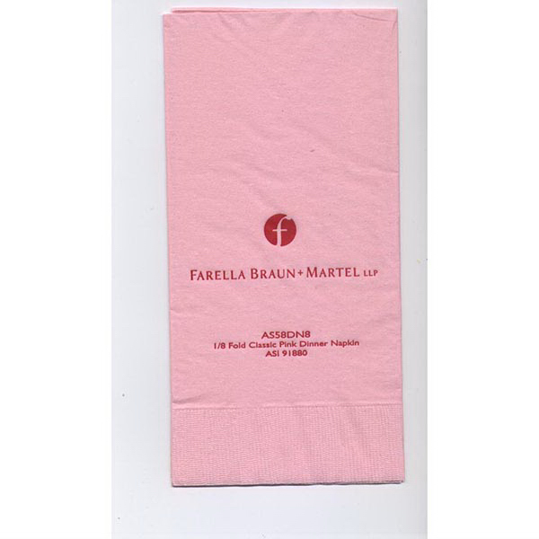 1/8 fold colored dinner napkin