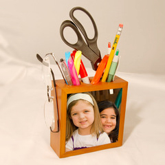 Wooden Pencil Holder with Photo Tile