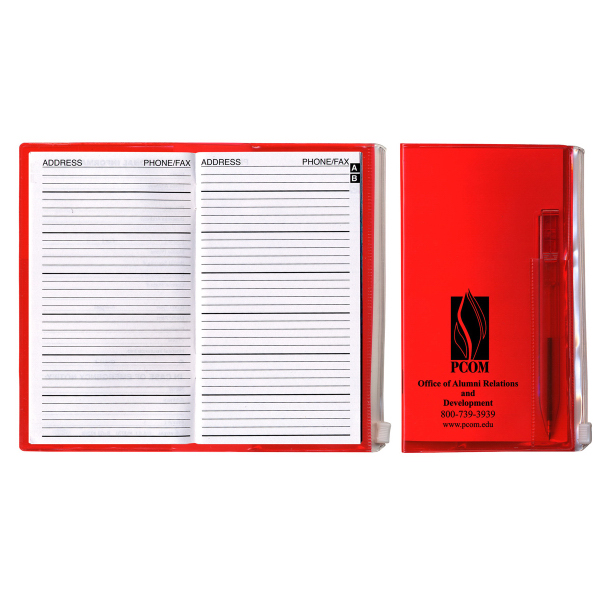Translucent Vinyl Address Book with Matching Pen